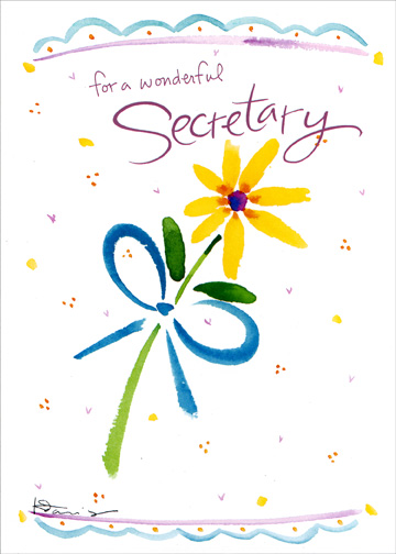 For All You Do (1 card/1 envelope) Administrative Assistant's Day Card - FRONT: for a wonderful Secretary  INSIDE: Thanks for all you do!  Happy Secretary's Day