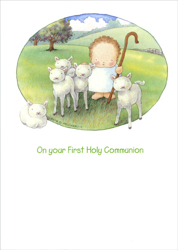 Baby & Lambs (1 card/1 envelope) - Communion Card - FRONT: On your First Holy Communion  INSIDE: May God's Blessings be with You this very Special Day and Always - 'My sheep hear my voice and I know them, and they follow me.'  John 10:27