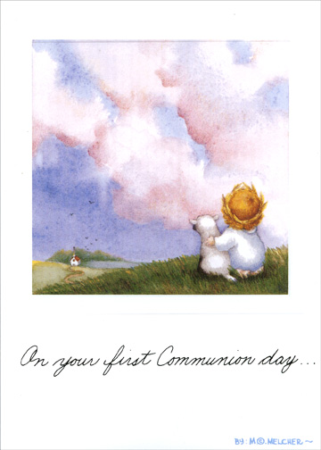 First Communion Angel (1 card/1 envelope) - Communion Card - FRONT: On your first Communion day..  INSIDE: Wishing you God's blessings on this Special Day and all the days of your life