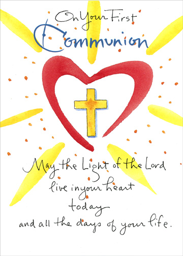 May The Light (1 card/1 envelope) Communion Card - FRONT: On Your First Communion - May the Light of the Lord live in your heart today and all the days of your life.  INSIDE: God Bless You on this special day.