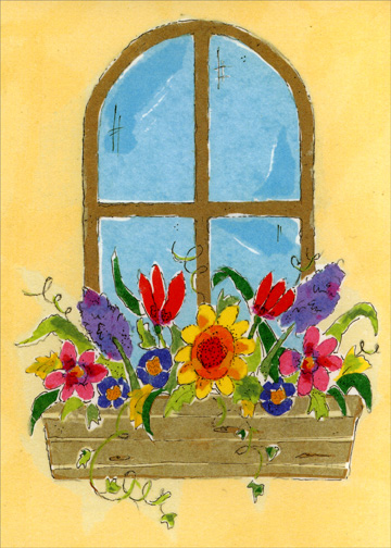 Flowers in Window Planter (1 card/1 envelope) - Mother's Day Card - FRONT: No Text  INSIDE: You bring sunshine to the window of my heart and cause beautiful blossoms to grow.  I love you Mom
