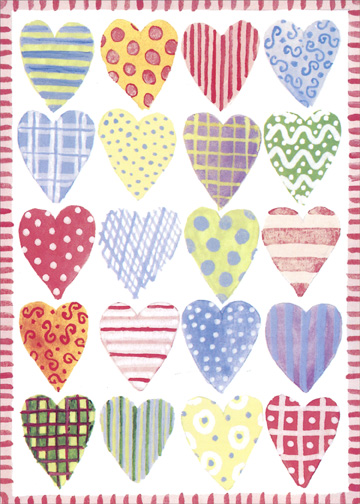 Patterned Hearts (1 card/1 envelope) Mother's Day Card - FRONT: No Text  INSIDE: Lots of Love to a Wonderful Daughter-In-Law on Mother's Day