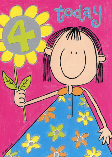 Girl with Flower (1 card/1 envelope) Birthday Card - FRONT: 4 Today  INSIDE: happy birthday to a special little girl