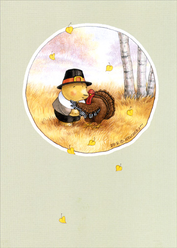 Pilgrim & Turkey (1 card/1 envelope) Mary Melcher Thanksgiving Card - FRONT: No Text  INSIDE: Happy Thanksgiving Day Hugs
