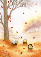 Pilgrim Bears Playing (1 card/1 envelope) - Thanksgiving Card  INSIDE: HAPPY THANKSGIVING DAY!