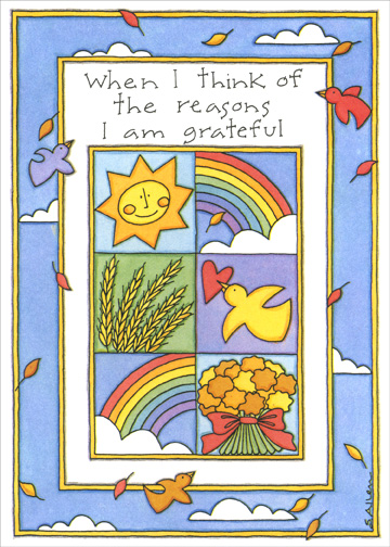 When I Think (1 card/1 envelope) Thanksgiving Card - FRONT: When I think of the reasons I am grateful  INSIDE: ..I always think of you - Happy Thanksgiving