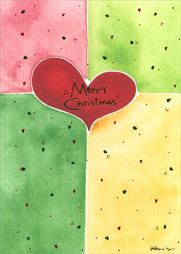 Hearts (1 card/1 envelope) Christmas Card - FRONT: Merry Christmas  INSIDE: ..with Love.