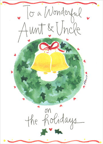 Wonderful Aunt & Uncle (1 card/1 envelope) Christmas Card - FRONT: To a Wonderful Aunt & Uncle on the holidays  INSIDE: Wishing you a holiday season filled with much joy & happiness
