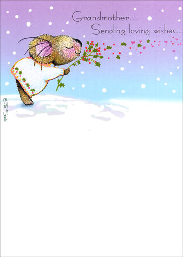 Koala With Holly (1 card/1 envelope) Christmas Card - FRONT: Grandmother..  Sending loving wishes..  INSIDE: ..for a Merry Christmas.