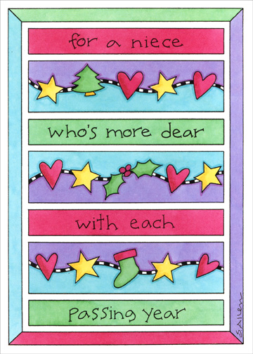 Rows Of Hearts (1 card/1 envelope) Christmas Card - FRONT: for a niece who�s more dear with each passing year  INSIDE: may your dreams come true all the year through - Merry Christmas