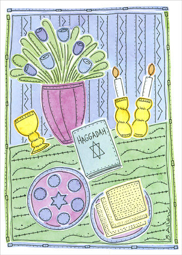 Sweet Blessing (1 card/1 envelope) Passover Card - FRONT: No Text  INSIDE: Wishing you the sweet blessings of this joyous holiday - Happy Passover