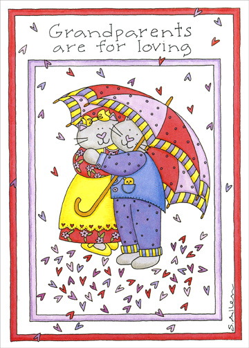 Two Cats W/Umbrellas (1 card/1 envelope) Grandparent's Day Card - FRONT: Grandparents are for loving  INSIDE: ..and you couldn't be loved more!  Happy Grandparent's Day