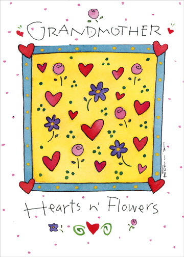 Hearts & Flowers (1 card/1 envelope) Grandparent's Day Card - FRONT: Grandmother  Hearts n' Flowers  INSIDE: ..and Hugs n' Kisses.. Xoxo for you on Grandparent's Day!