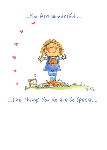 You Are Wonderful (1 card/1 envelope) Rosh Hashanah Card - FRONT: ..You Are Wonderful.. ..The Things You do are So Special..  INSIDE: ..Just Like You Are!  L'Shanah Tovah!