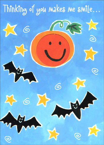 Thinking of You (1 card/1 envelope) Halloween Card - FRONT: Thinking of you makes me smile..  INSIDE: with all my heart!  Happy Halloween