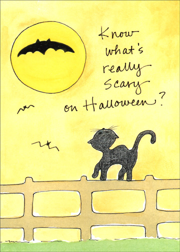 Little Cat on Fence (1 card/1 envelope) Halloween Card - FRONT: Know what's really scary on Halloween?  INSIDE: Me being here . . . . . . . . . . . . . . . . And you being there.  I Miss You!