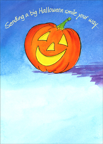 Smile & Love (1 card/1 envelope) - Halloween Card - FRONT: Sending a big Halloween smile your way..  INSIDE: With lots of love, too!  Happy Halloween