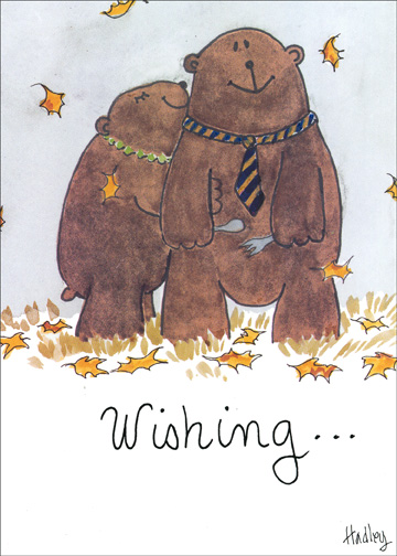 Loving Bears (1 card/1 envelope) Thanksgiving Card - FRONT: Wishing. . .  INSIDE: A very happy Thanksgiving to someone who is very easy to love