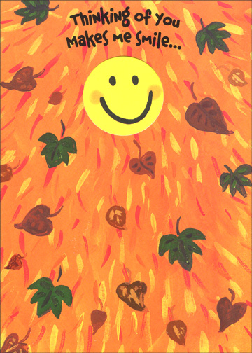 Smiley Heart (1 card/1 envelope) Thanksgiving Card - FRONT: Thinking of you makes me smile..  INSIDE: with my heart! Happy Thanksgiving