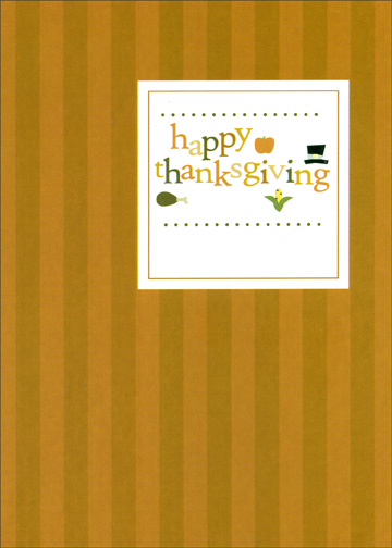 Stripes & Square (1 card/1 envelope) - Thanksgiving Card - FRONT: happy thanksgiving  INSIDE: I really appreciate having a brother as wonderful as you.
