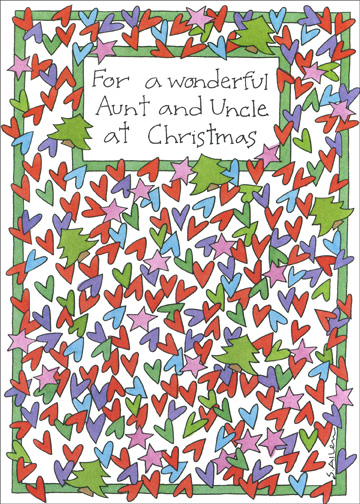 Many Hearts (1 card/1 envelope) Christmas Card - FRONT: For a wonderful Aunt and Uncle at Christmas  INSIDE: Sending you as much love as a card can possibly hold