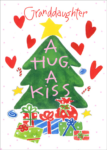 A Hug & Kiss (1 card/1 envelope) Christmas Card - FRONT: Granddaughter - A Hug, A Kiss  INSIDE: A Merry Christmas wish!