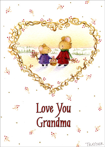 Love Your Grandma (1 card/1 envelope) Christmas Card - FRONT: Love you Grandma  INSIDE: With all my heart. Merry Christmas!