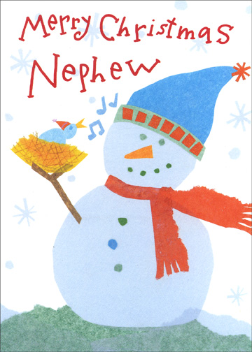 Snowman (1 card/1 envelope) - Christmas Card - FRONT: Merry Christmas Nephew  INSIDE: Hopy your day is filled with joy!