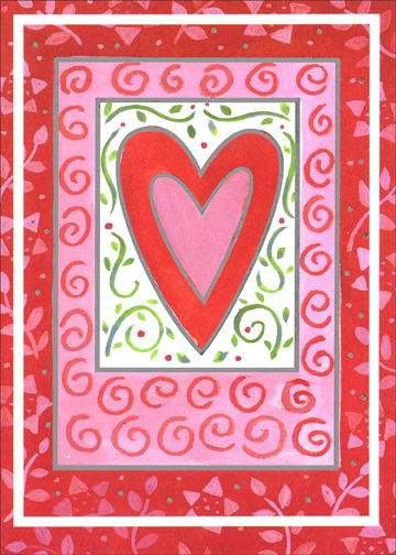 Heart Within Heart (1 card/1 envelope) - Valentine's Day Card - FRONT: No Text  INSIDE: Happy Valentine's Day!