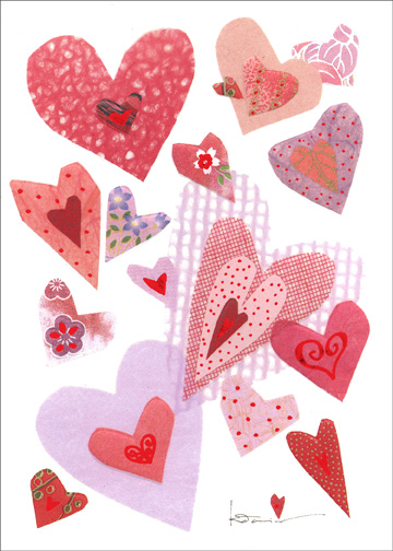 Many Hearts (1 card/1 envelope) Valentine's Day Card - FRONT: No Text  INSIDE: Happy Valentine's Day!