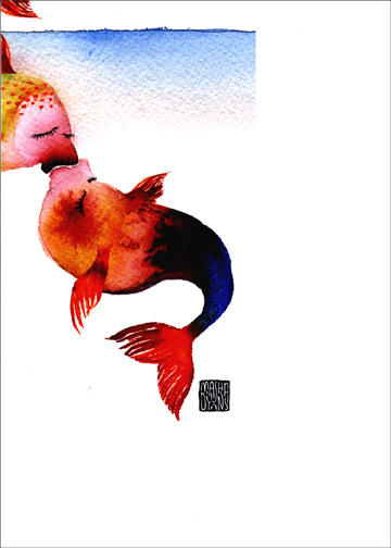 Kissing Fish (1 card/1 envelope) Valentine's Day Card - FRONT: No Text  INSIDE: smooch  happy valentine's day