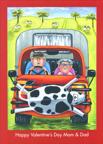 Grey Nomads (1 card/1 envelope) Cow Valentine's Day Card - FRONT: Happy Valentine's Day Mom & Dad  INSIDE: To a couple who shares life's everyday joys!