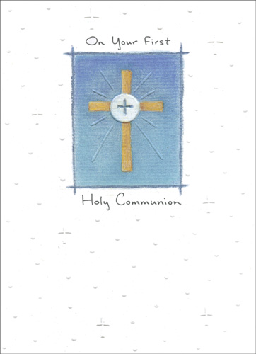 May Gods Blessings (1 card/1 envelope) Religious Communion Card - FRONT: On Your First Holy Communion  INSIDE: May God's blessings be with you on this special day and always.