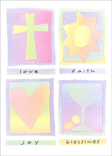 Love, Faith, Joy (1 card/1 envelope) Religious Confirmation Card - FRONT: love  faith  joy  blessings  INSIDE: Wishing you God's blessings on your Confirmation and always