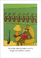 All of the Other Reindeer (1 card/1 envelope) - Christmas Card - FRONT: All of the other reindeer used to laugh and call him names.  INSIDE: Hope you have a blast!  Happy Holidays