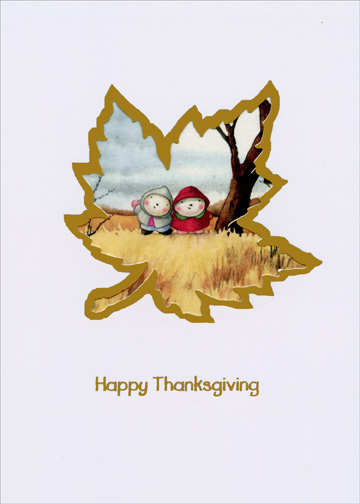 Maple Leaf Die Cut (1 card/1 envelope) Recycled Paper Greetings Mary Melcher Thanksgiving Card - FRONT: Happy Thanksgiving  INSIDE: Sending Warm Wishes of Love on this Happy Day