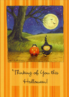 Adorable Witch & Kitty Bears (1 card/1 envelope) - Halloween Card - FRONT: Thinking of you this Halloween!  INSIDE: Wishing you a very merry, not too scary, Happy Halloween!