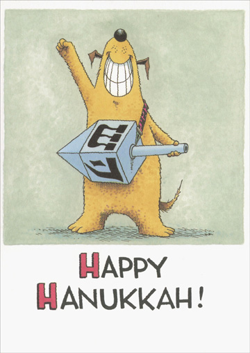 Rock The Dreidel (1 card/1 envelope) Recycled Paper Greetings Funny Hanukkah Card - FRONT: Happy Hanukkah!  INSIDE: Rock the dreidel!