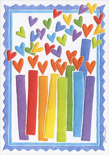 Rainbow Candles (1 card/1 envelope) Recycled Paper Greetings Hanukkah Card - FRONT: No Text  INSIDE: Happy Hanukkah with love!