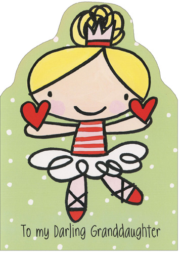 Darling Ballerina (1 card/1 envelope) Recycled Paper Greetings Christmas Card - FRONT: To my Darling Granddaughter  INSIDE: Stockings full and a lighted tree, presents wrapped so lovingly. It's the most fun day of the year, Happy Christmas to you, my little dear.