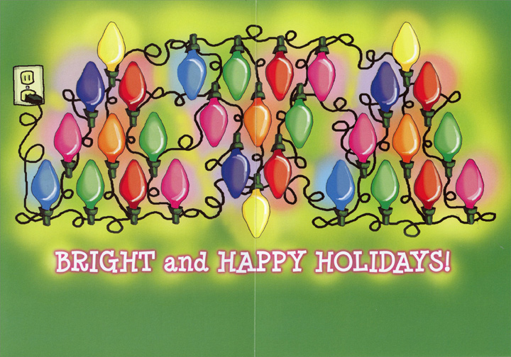String of Xmas Lights (1 card/1 envelope) Recycled Paper Greetings Christmas Card - FRONT: Wishing you�  INSIDE: Bright and Happy Holidays!