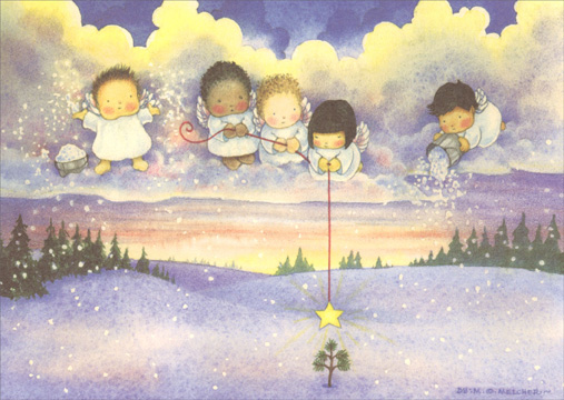 Angels with Star (1 card/1 envelope) Recycled Paper Greetings Christmas Card  INSIDE: Let the Light of this Beautiful Season Shine On