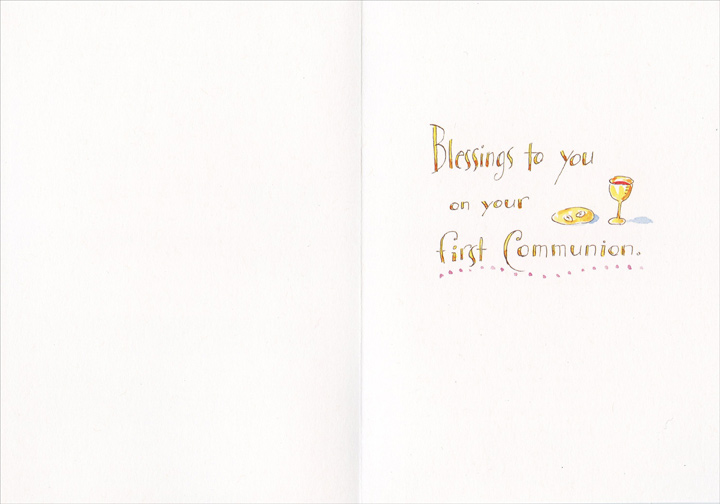 May He Guide You Tomorrow (1 card/1 envelope) Recycled Paper Greetings Communion Card - FRONT: May God Bless you today, May He guide you tomorrow, and may you follow Him all the days of your life.  INSIDE: Blessings to you on your first Communion.
