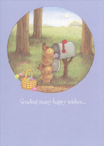 Rabbits at Mailbox (1 card/1 envelope) - Easter Card - FRONT: Sending many happy wishes�  INSIDE: �for a wonderful Easter!