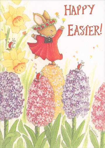 Bunny Dancing on Flowers (1 card/1 envelope) Recycled Paper Greetings Easter Card - FRONT: Happy Easter!  INSIDE: Happy Spring! Happy Happy Everything!