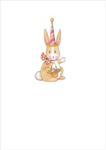 Bunny with Tall Hat (1 card/1 envelope) Recycled Paper Greetings Mary Engelbreit Easter Card  INSIDE: Hope you find Easter fun everywhere you look.