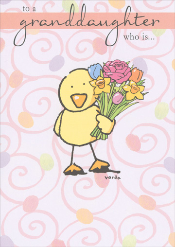 Chick Holding Flowers (1 card/1 envelope) - Easter Card - FRONT: to a granddaughter who is�  INSIDE: �cuter than a baby chick more beautiful than a rose sweeter than a jellybean and loved more than she knows. happy easter!