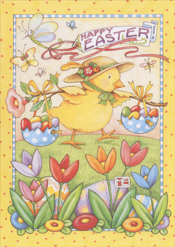 Chick in Bonnet Balancing Eggs (1 card/1 envelope) 'Recycled Paper Greetings Mary Engelbreit Easter Card - FRONT: Happy Easter!  INSIDE: May you Easter be filled with sweet surprises.