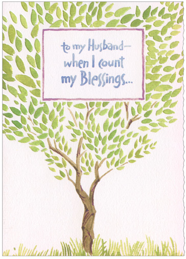 Count My Blessings Tree (1 card/1 envelope) Recycled Paper Greetings Easter Card - FRONT: to my Husband - when I count my Blessings�  INSIDE: �I can always count on you. Happy Easter!