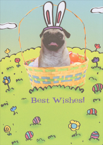 Easter Puggy (1 card/1 envelope) Recycled Paper Greetings Funny Dog Easter Card - FRONT: Best Wishes!  INSIDE: From the Easter Puggy.